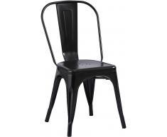 Esszimmerstuhl Metallstuhl Bistrostuhl stapelbar schwarz matt LARA Vollholz