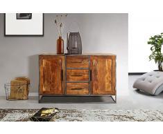 Kommode Akazienholz massiv nougat Sideboard 2 Türen 3 Schubladen Oklahoma