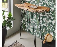 Konsolentisch Baumkante massiv Teakholz Wurzelholz 95 x 41 schwarz Amazonas Vollholz