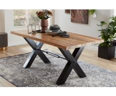 Großer Küchentisch Landhausstil Mangoholz X-Gestell schwarz 180 x 90 cm MANILO