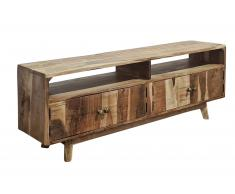Lowboard 130 x 30 x 45 cm Akazienholz massiv & natur TV-Schrank NAGAR 3 Vollholz