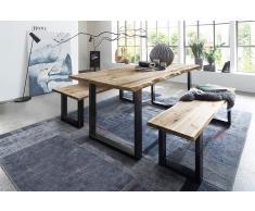 Baumkanten Tischgruppe Akazie Vollholz natur 120 schwarz 3tlg. QUINN