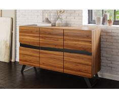Sideboard 160 x 44 x 85 cm Akazienholz massiv & nussbaum SARA