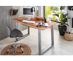 Schreibtisch Baumkante massiv Akazie natur 200x100 silber