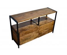Sideboard 110 x 35 x 65 cm Akazienholz massiv & nussbaum NAGAR 3 Vollholz