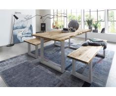 Baumkanten Tischgruppe Akazie Vollholz natur 120 silber 3tlg. QUINN