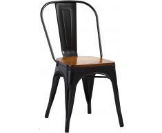 Esszimmerstuhl Metallstuhl stapelbar schwarz matt Sitz Pinienholz LINA Vollholz