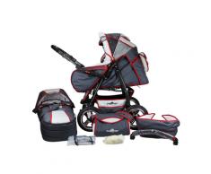 Bergsteiger 2-in-1 Kombi-Kinderwagen Rio (grey & red stripes)