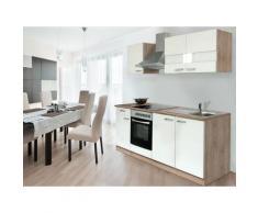 respekta Küchenzeile Eiche Sonoma Sägerau 210/220/240/250/270/280/300/310 (ohne Kühlschrank, Weiß, Breite 210cm / Kaminhaube)