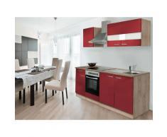respekta Küchenzeile Eiche Sonoma Sägerau 210/220/240/250/270/280/300/310 (ohne Kühlschrank, Rot, Breite 210cm / Kaminhaube)