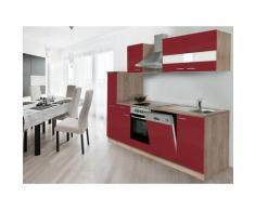 respekta Küchenzeile Eiche Sonoma Sägerau 210/220/240/250/270/280/300/310 (ohne Kühlschrank, Rot, Breite 250cm / Kaminhaube)