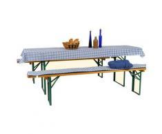 GO-DE Textil Festzeltgarnitur Auflagen (Karo blau/ weiß, 3-teilig)