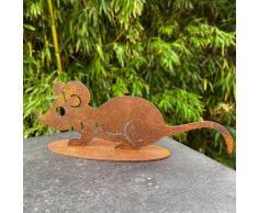 Gartenfigur Maus Mia, Edelrost, ca. 20 cm