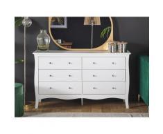 Kommode Weiß aus MDF Platte 40 x 130 x 75 cm Modern Geräumige Schubladen im Jugendstil für Wohnzimmer Schlafzimmer Kinderzimmer Flur