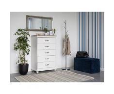 Kommode Weiß Spanplatte Holz Aluminium Melaminbeschichtung 117 x 76 x 39 cm Minimalistisch Geräumige Schubladen Alle Wohnbereiche