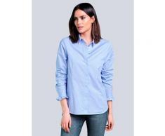 Alba Moda, Bluse mit verdeckter Knopfleiste, blau