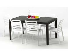 Polyrattan eckiger Tisch mit 6 Stühlen barset Garten Outdoor-möbel ...