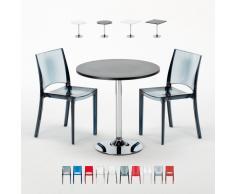Runder und quadratischer Tisch mit 2 durchsichtigen Stühlen für Bar...