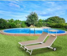 2 Sonnenliegen Strandliegen aus Aluminium mit Rollen für Garten Swi...