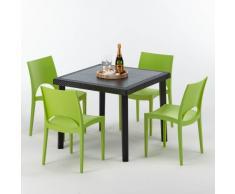 Polyrattan Tisch mit 4 Stühlen barset Garten Outdoor-möbel schwarz