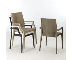 20 Stühle Armlehnen Sessel Polyrattan BISTROT ARM Grand Soleil