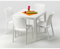 Polyrattan Tisch mit 4 Stühlen barset Garten Outdoor-möbel weiß