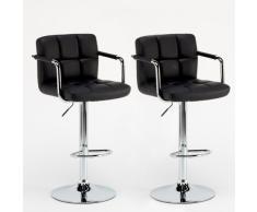 2 Hocker Schwarz komfortabel ideal Halbinsel verstellbare Fußstütze...