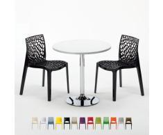 Runder Tisch in Weiß mit 2 farbigen Stühle für Bar Café