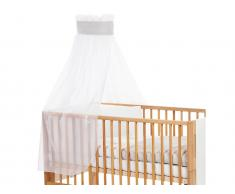 Betthimmel Weiß mit grauer Stern Banderole für Kinderbett Babybay,