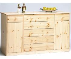 Sideboard mit 2 Türen mit 5 großen + 2 kleinen Schubladen Klarlack | Gelaugt,