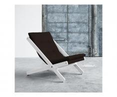Futon Liegestuhl BOOGIE Karup mit Matratze, Gestell Buche Weiß lackiert, In verschiedenen Farben erhältlich