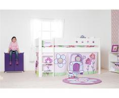 Halbhohes Bett Weiß mit Vorhang und Lattenrost, Flexa White 90x200cm,