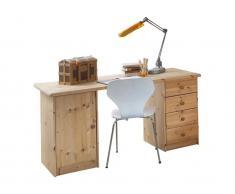 Schreibtisch Natur mit 4 Schubladen und 1 Tür, Dolphin,