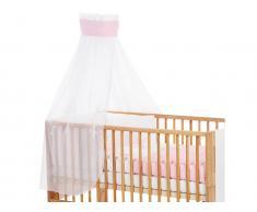 Betthimmel Weiß mit Rosa Punkte Banderole für Kinderbett Babybay,