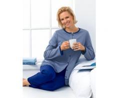 Avena Damen Thermofit-Schlafanzug m.Knopfleiste Baumwolle Blau