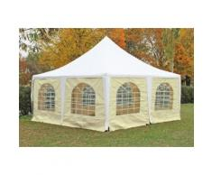 Pavillon 5x5m weiß / beige PVC Pagodenzelt Arabica Profi wasserdicht