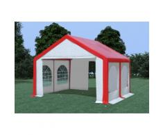 Partyzelt Pavillon 4x4m Modular Pro PVC wasserdicht rot / weiß