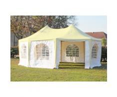 Pavillon 5x6,8m beige / weiß PVC Pagodenzelt Arabica Profi wasserdicht