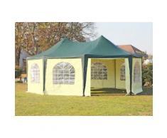 Pavillon 5x6,8m grün / beige PVC Pagodenzelt Arabica Profi wasserdicht