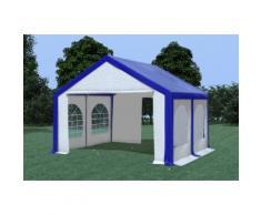 Partyzelt Pavillon 4x4m Modular Pro PVC wasserdicht blau / weiß