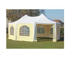 Pavillon 5x6,8m weiß / beige PVC Pagodenzelt Arabica Profi wasserdicht
