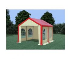 Partyzelt Pavillon 3x4m Modular Pro PVC wasserdicht rot / beige
