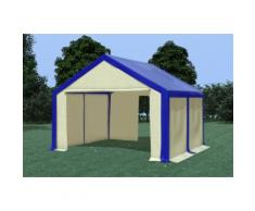 Partyzelt Pavillon 4x4m Modular Pro PVC wasserdicht blau / beige