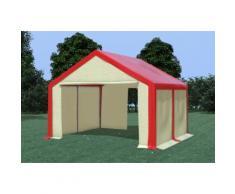 Partyzelt Pavillon 4x4m Modular Pro PVC wasserdicht rot / beige