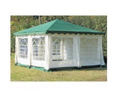 Pavillon 4x4m grün Polyester / PVC Gartenpavillon DeLuxe wasserdicht