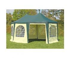 Pavillon 4x5,5m grün / beige PVC Pagodenzelt Arabica Profi wasserdicht