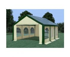 Partyzelt Pavillon 4x6m Modular Pro PVC wasserdicht grün / beige
