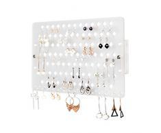 JackCubeDesign Wandhalterung Ohrring Schmuckhalter Organizer Aufhänger Lagerregal Display Clear Acryl mit 94 Löchern (klar, 39,8 x 23,8 x 2,3 cm) -: MK201B