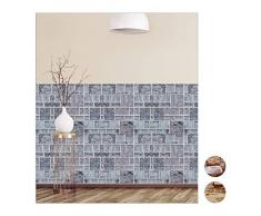 Relaxdays Wandpaneele selbstklebend, 5er Set, dekorative Steinoptik, 3D Paneele, Fliesen, PVC Steinwand, 50x50 cm, grau