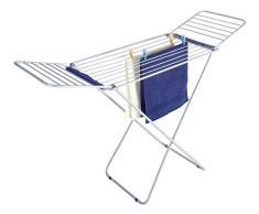 WENKO 3774012100 Flügel Wäschetrockner Wings - 16 m Trockenlänge, zusammenklappbar, Aluminium, 175 x 112 x 56 cm, Silber matt